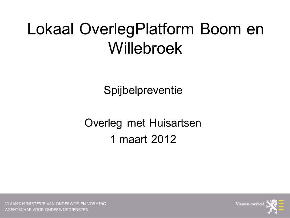 Lokaal OverlegPlatform Boom en Willebroek Spijbelpreventie Overleg met Huisartsen 1 maart 2012