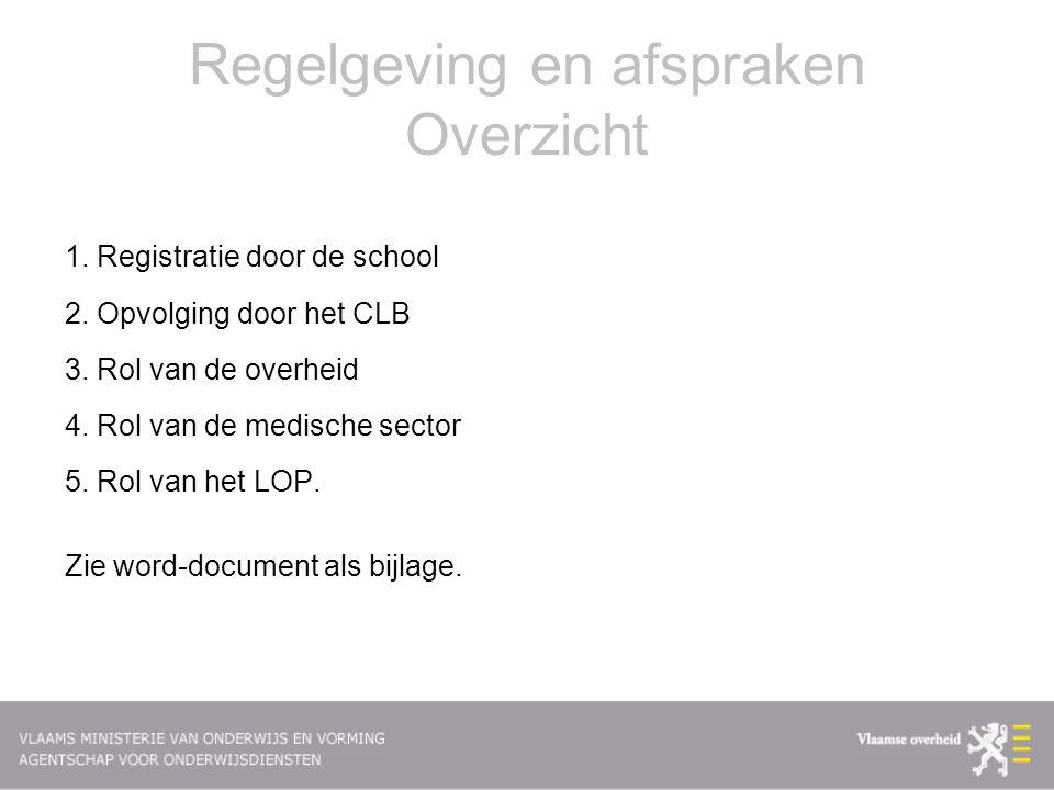 Regelgeving en afspraken Overzicht 1. Registratie door de school 2. Opvolging door het CLB 3. Rol van de overheid 4. Rol van de medische sector 5. Rol