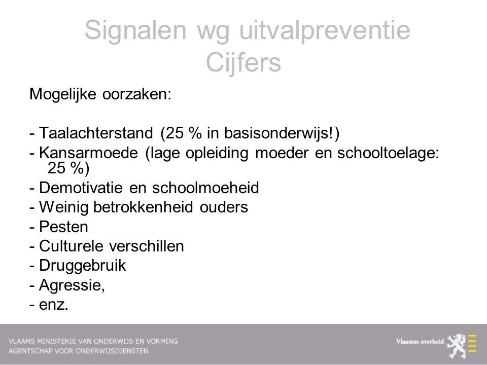 Signalen wg uitvalpreventie Cijfers Mogelijke oorzaken: - Taalachterstand (25 % in basisonderwijs!) - Kansarmoede (lage opleiding moeder en schooltoel