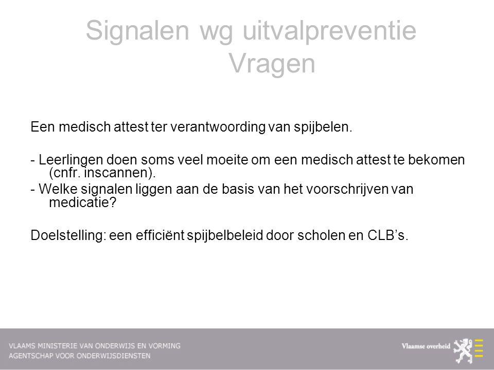 Signalen wg uitvalpreventie Vragen Een medisch attest ter verantwoording van spijbelen.