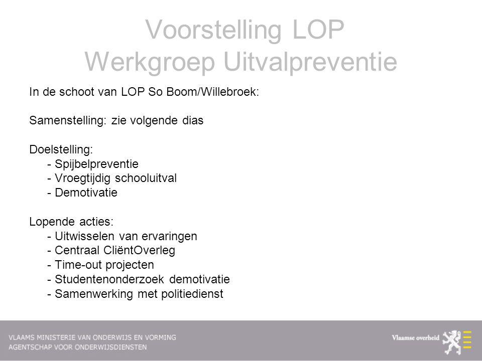 Voorstelling LOP Werkgroep Uitvalpreventie In de schoot van LOP So Boom/Willebroek: Samenstelling: zie volgende dias Doelstelling: - Spijbelpreventie