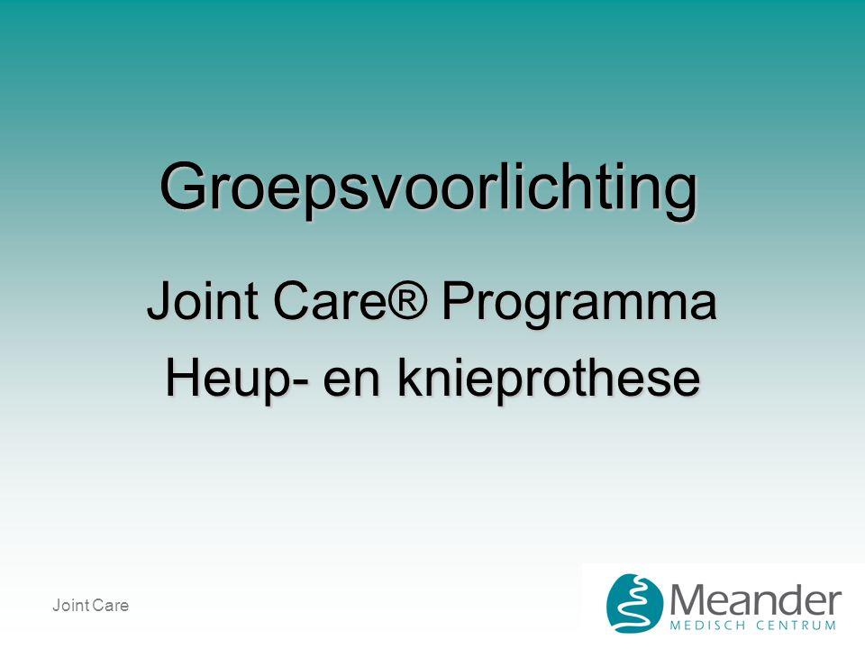 Joint Care Groepsvoorlichting Joint Care® Programma Heup- en knieprothese
