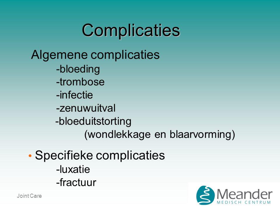 Joint Care Complicaties Algemene complicaties -bloeding -trombose -infectie -zenuwuitval -bloeduitstorting (wondlekkage en blaarvorming) • Specifieke