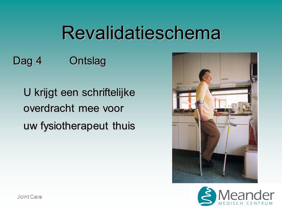 Joint Care Revalidatieschema Dag 4Ontslag U krijgt een schriftelijke overdracht mee voor uw fysiotherapeut thuis