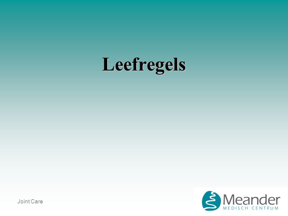Joint Care Leefregels