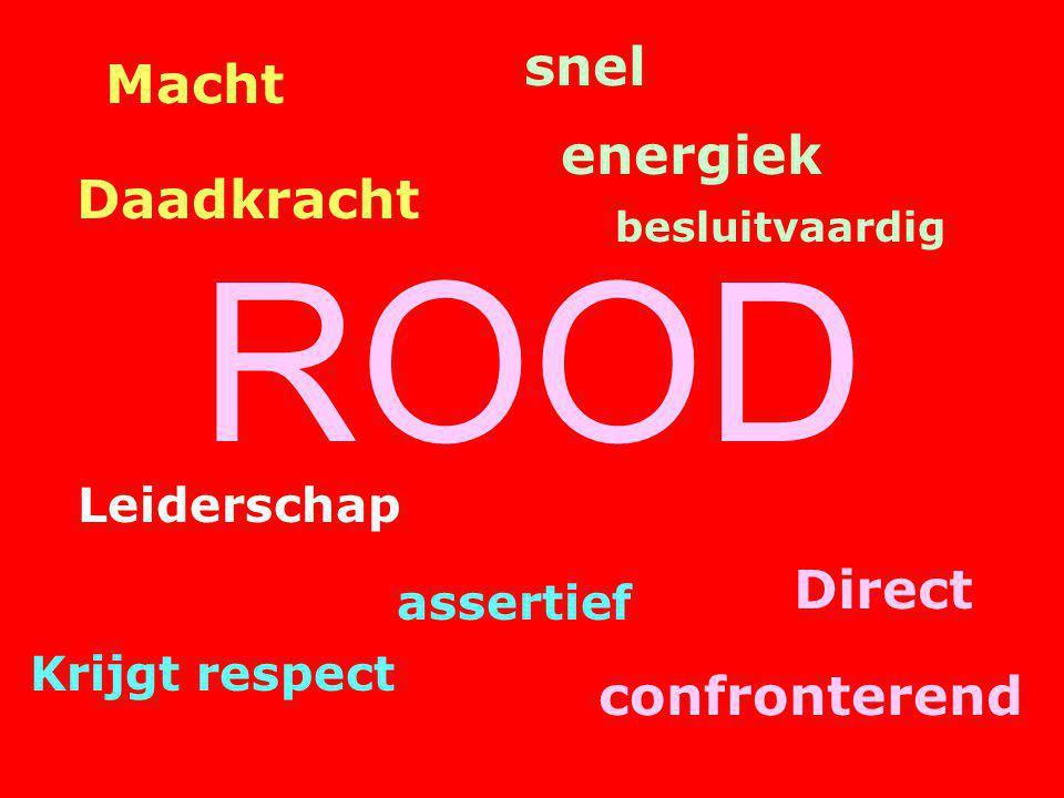 ROOD snel besluitvaardig energiek Macht Daadkracht Direct confronterend assertief Krijgt respect Leiderschap