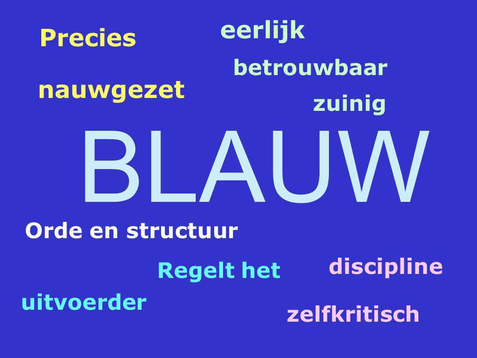 BLAUW eerlijk zuinig betrouwbaar Precies nauwgezet discipline zelfkritisch Regelt het uitvoerder Orde en structuur