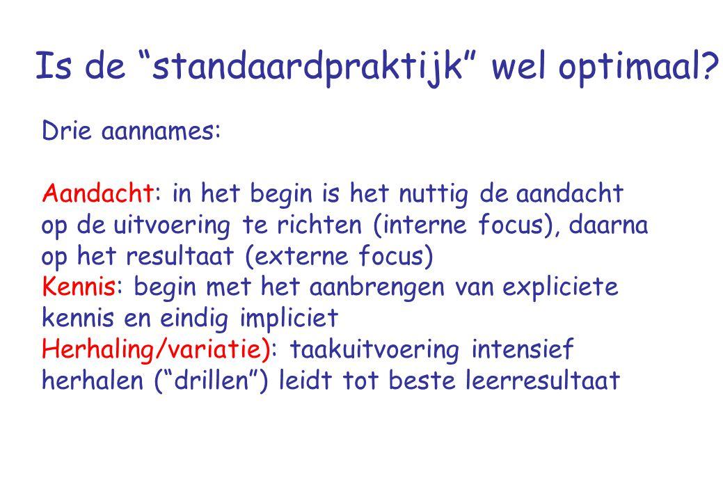 """Is de """"standaardpraktijk"""" wel optimaal? Drie aannames: Aandacht: in het begin is het nuttig de aandacht op de uitvoering te richten (interne focus), d"""