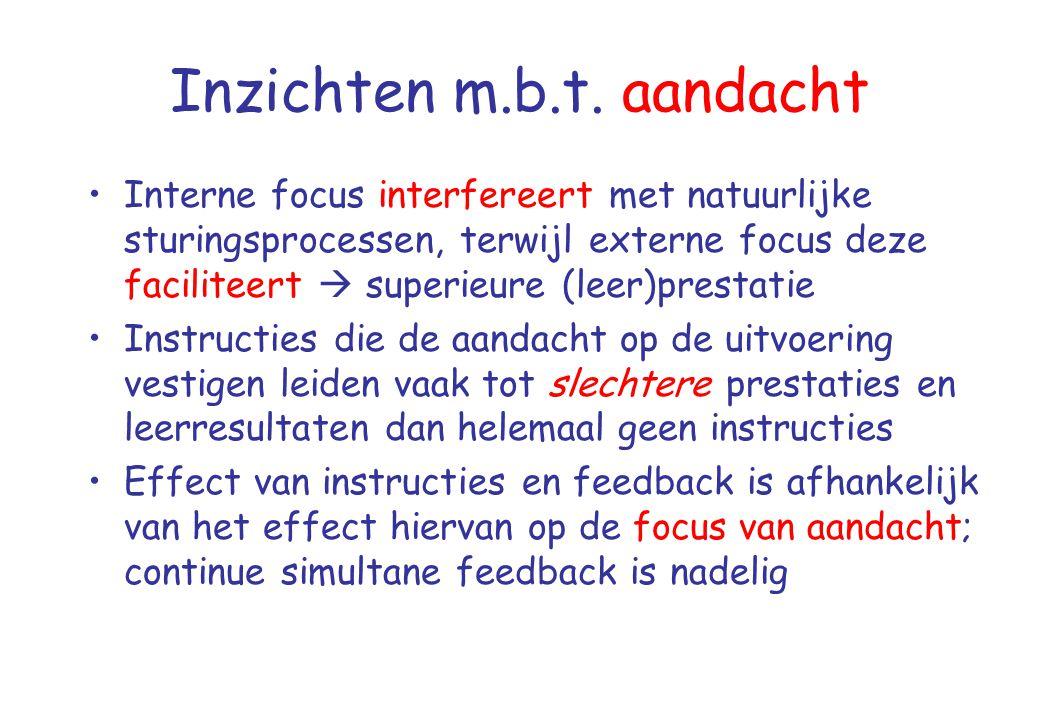 Inzichten m.b.t. aandacht •Interne focus interfereert met natuurlijke sturingsprocessen, terwijl externe focus deze faciliteert  superieure (leer)pre