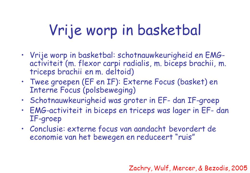 Vrije worp in basketbal •Vrije worp in basketbal: schotnauwkeurigheid en EMG- activiteit (m. flexor carpi radialis, m. biceps brachii, m. triceps brac