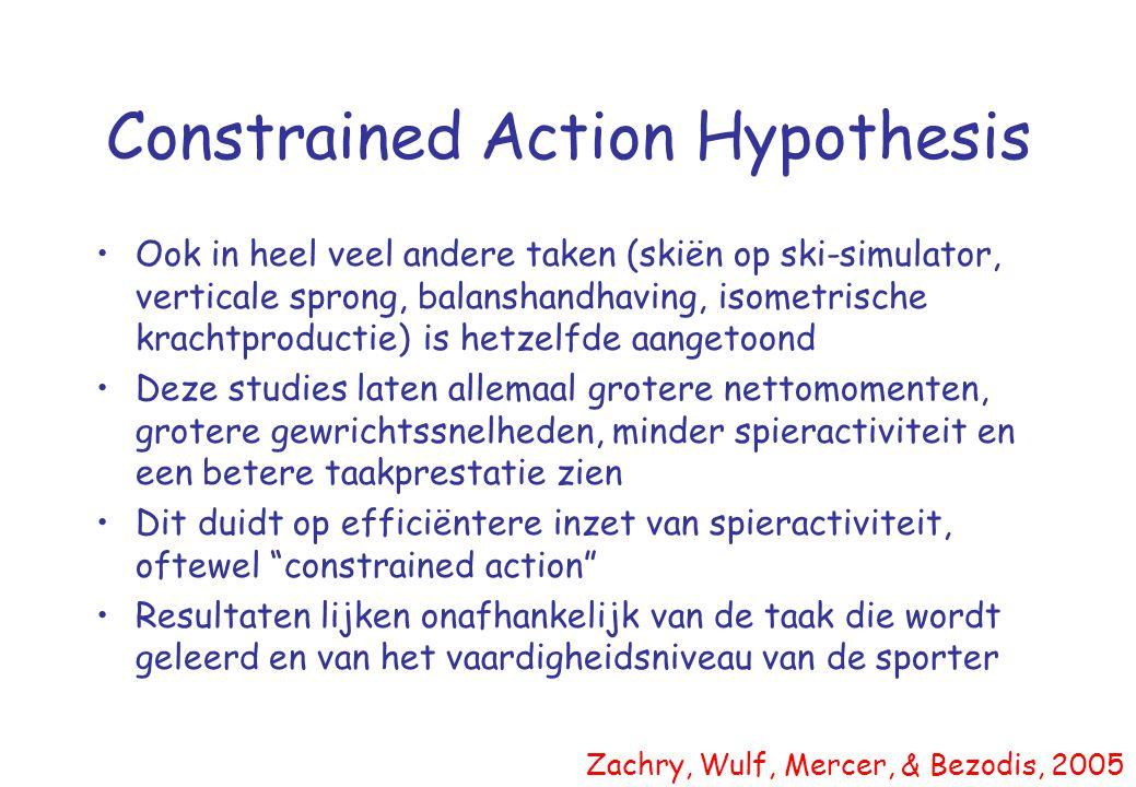 Constrained Action Hypothesis •Ook in heel veel andere taken (skiën op ski-simulator, verticale sprong, balanshandhaving, isometrische krachtproductie