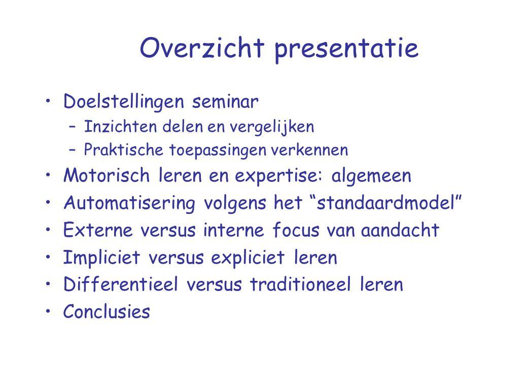 Overzicht presentatie •Doelstellingen seminar –Inzichten delen en vergelijken –Praktische toepassingen verkennen •Motorisch leren en expertise: algeme
