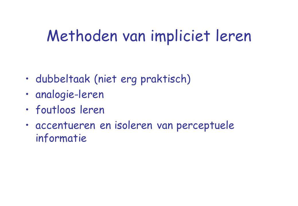 Methoden van impliciet leren •dubbeltaak (niet erg praktisch) •analogie-leren •foutloos leren •accentueren en isoleren van perceptuele informatie