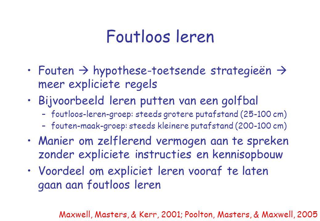Foutloos leren •Fouten  hypothese-toetsende strategieën  meer expliciete regels •Bijvoorbeeld leren putten van een golfbal –foutloos-leren-groep: st