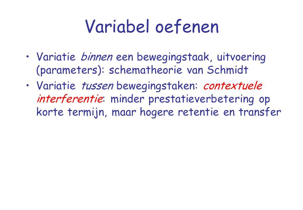 Variabel oefenen •Variatie binnen een bewegingstaak, uitvoering (parameters): schematheorie van Schmidt •Variatie tussen bewegingstaken: contextuele i