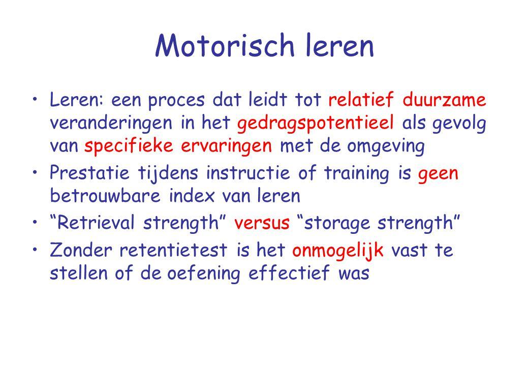 Motorisch leren •Leren: een proces dat leidt tot relatief duurzame veranderingen in het gedragspotentieel als gevolg van specifieke ervaringen met de