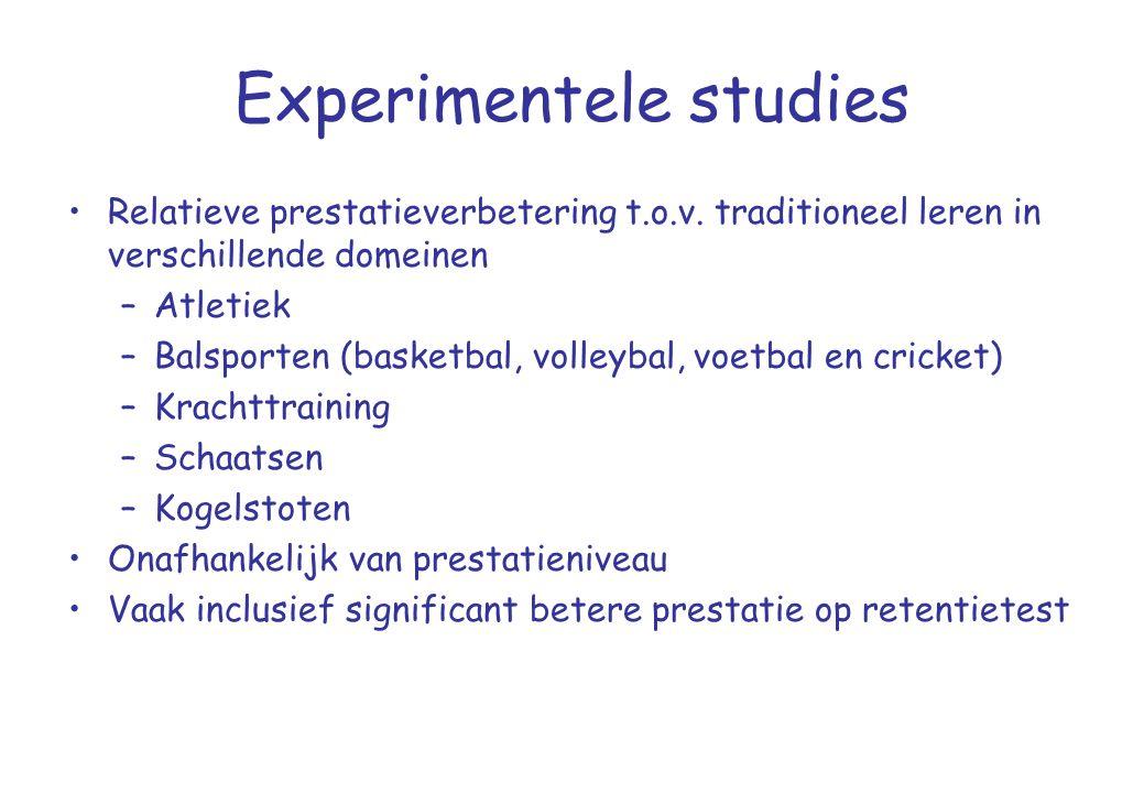 Experimentele studies •Relatieve prestatieverbetering t.o.v. traditioneel leren in verschillende domeinen –Atletiek –Balsporten (basketbal, volleybal,
