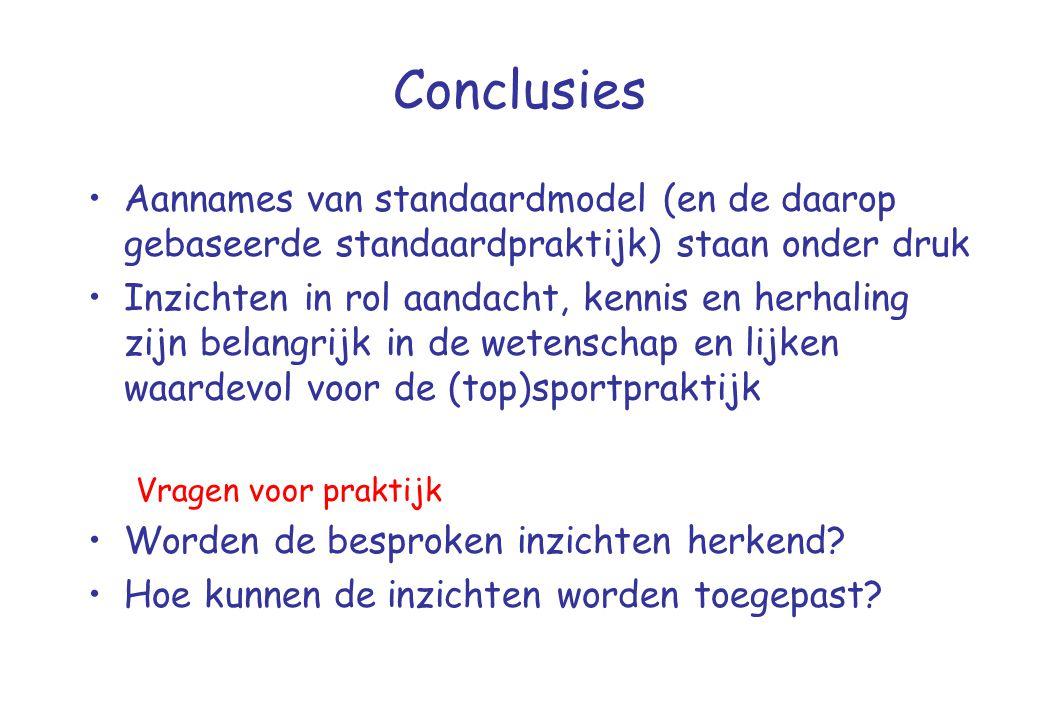 Conclusies •Aannames van standaardmodel (en de daarop gebaseerde standaardpraktijk) staan onder druk •Inzichten in rol aandacht, kennis en herhaling z