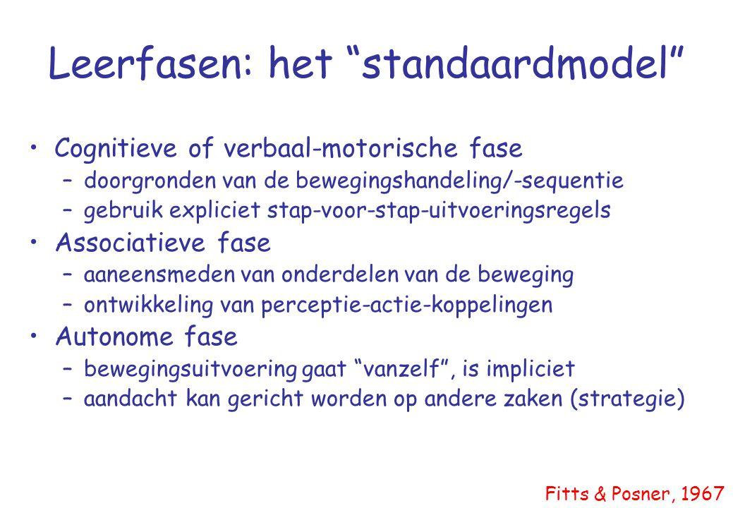 """Leerfasen: het """"standaardmodel"""" •Cognitieve of verbaal-motorische fase –doorgronden van de bewegingshandeling/-sequentie –gebruik expliciet stap-voor-"""