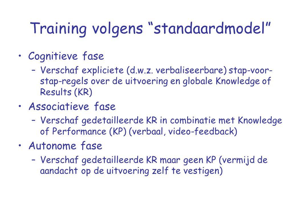 """Training volgens """"standaardmodel"""" •Cognitieve fase –Verschaf expliciete (d.w.z. verbaliseerbare) stap-voor- stap-regels over de uitvoering en globale"""