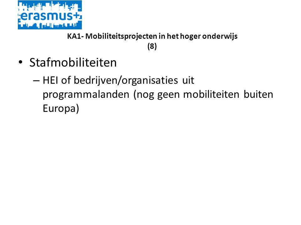 KA1- Mobiliteitsprojecten in het hoger onderwijs (8) • Stafmobiliteiten – HEI of bedrijven/organisaties uit programmalanden (nog geen mobiliteiten buiten Europa)