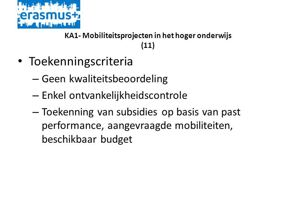 KA1- Mobiliteitsprojecten in het hoger onderwijs (11) • Toekenningscriteria – Geen kwaliteitsbeoordeling – Enkel ontvankelijkheidscontrole – Toekenning van subsidies op basis van past performance, aangevraagde mobiliteiten, beschikbaar budget