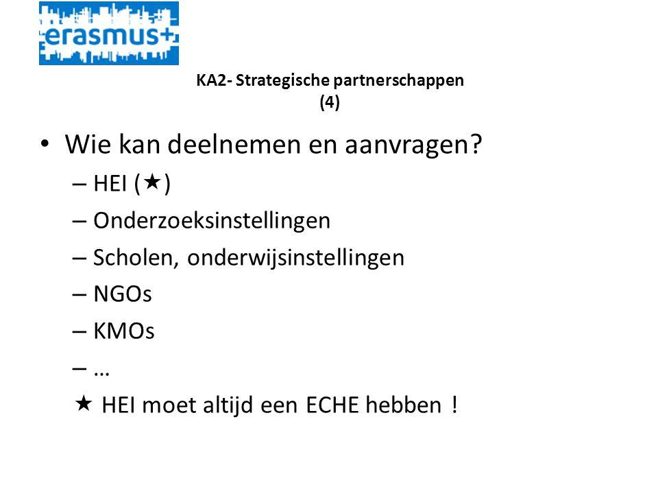 KA2- Strategische partnerschappen (4) • Wie kan deelnemen en aanvragen.