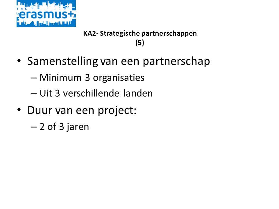 KA2- Strategische partnerschappen (5) • Samenstelling van een partnerschap – Minimum 3 organisaties – Uit 3 verschillende landen • Duur van een project: – 2 of 3 jaren