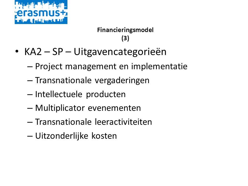 Financieringsmodel (3) • KA2 – SP – Uitgavencategorieën – Project management en implementatie – Transnationale vergaderingen – Intellectuele producten – Multiplicator evenementen – Transnationale leeractiviteiten – Uitzonderlijke kosten