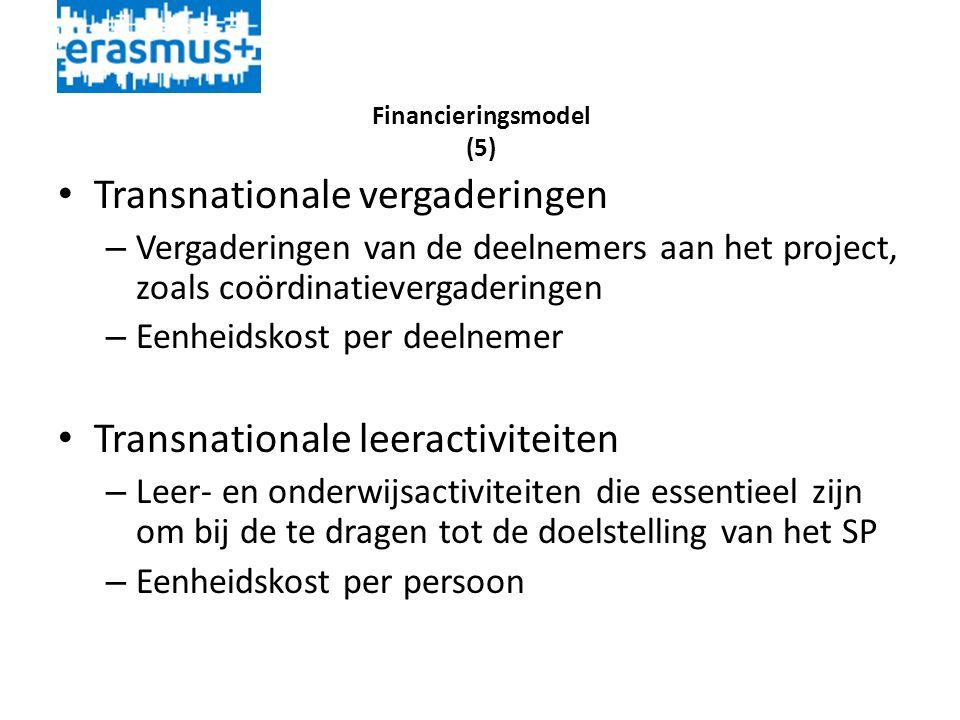 Financieringsmodel (5) • Transnationale vergaderingen – Vergaderingen van de deelnemers aan het project, zoals coördinatievergaderingen – Eenheidskost per deelnemer • Transnationale leeractiviteiten – Leer- en onderwijsactiviteiten die essentieel zijn om bij de te dragen tot de doelstelling van het SP – Eenheidskost per persoon