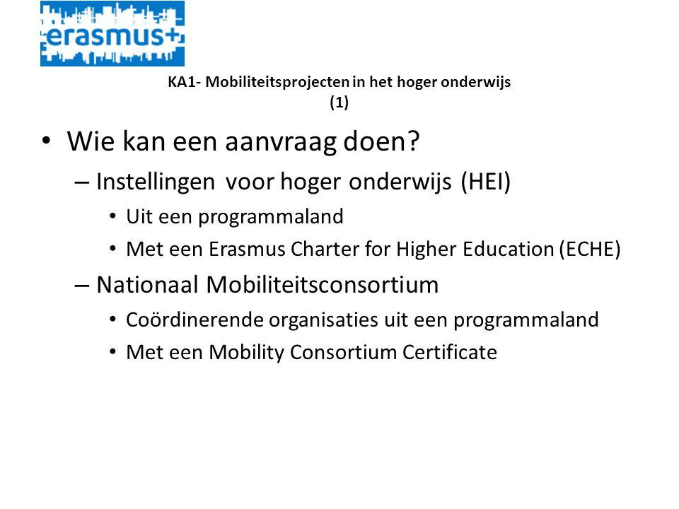 KA1- Mobiliteitsprojecten in het hoger onderwijs (1) • Wie kan een aanvraag doen.