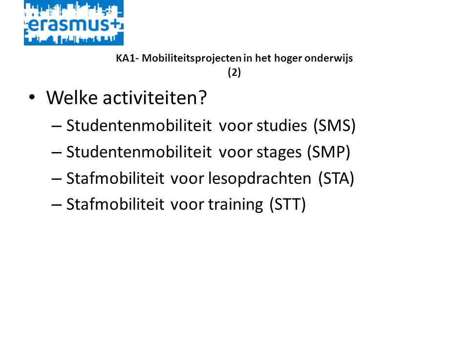 KA1- Mobiliteitsprojecten in het hoger onderwijs (2) • Welke activiteiten.