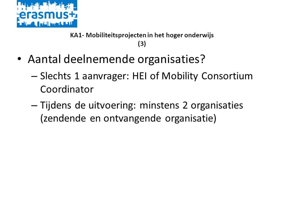 KA1- Mobiliteitsprojecten in het hoger onderwijs (3) • Aantal deelnemende organisaties.