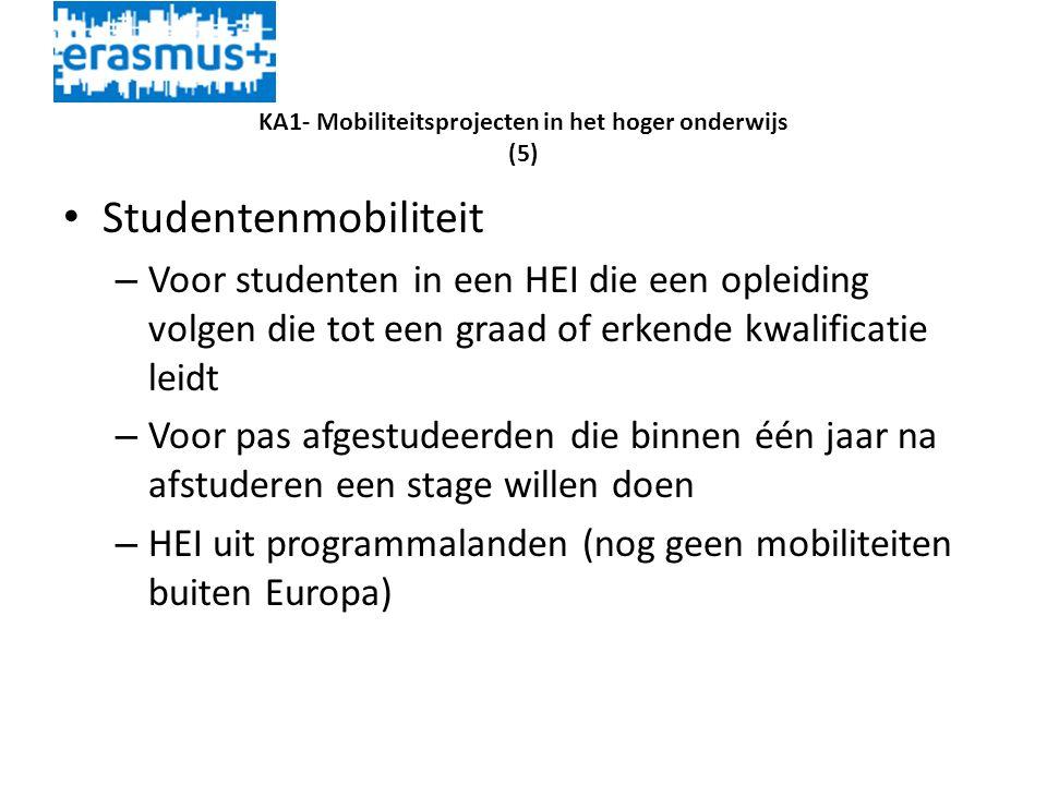 KA1- Mobiliteitsprojecten in het hoger onderwijs (5) • Studentenmobiliteit – Voor studenten in een HEI die een opleiding volgen die tot een graad of erkende kwalificatie leidt – Voor pas afgestudeerden die binnen één jaar na afstuderen een stage willen doen – HEI uit programmalanden (nog geen mobiliteiten buiten Europa)