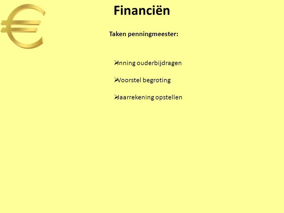 Financiën  Inning ouderbijdragen  Voorstel begroting  Jaarrekening opstellen Taken penningmeester: