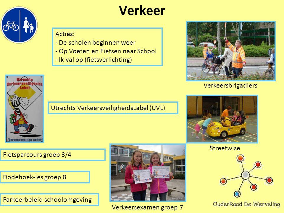 Verkeer Utrechts VerkeersveiligheidsLabel (UVL) Verkeersbrigadiers Streetwise Fietsparcours groep 3/4 Verkeersexamen groep 7 Dodehoek-les groep 8 Parkeerbeleid schoolomgeving Acties: - De scholen beginnen weer - Op Voeten en Fietsen naar School - Ik val op (fietsverlichting)