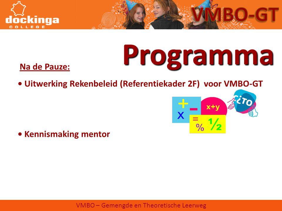 VMBO – Gemengde en Theoretische Leerweg Programma Na de Pauze: • Uitwerking Rekenbeleid (Referentiekader 2F) voor VMBO-GT • Kennismaking mentor