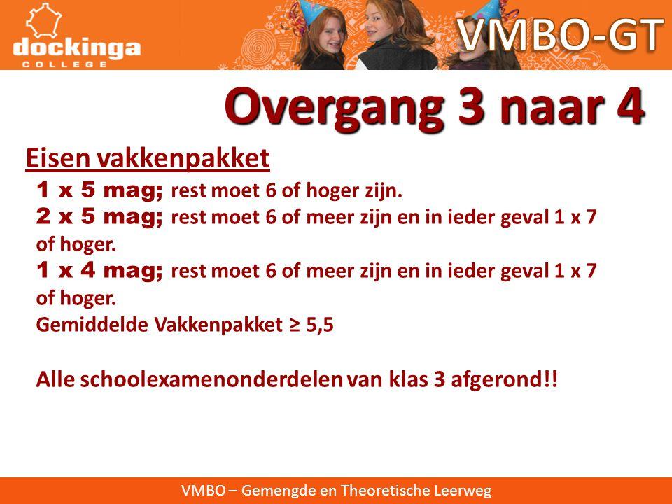 VMBO – Gemengde en Theoretische Leerweg Over naar klas 4: Rapportcijfers Overgang 3 naar 4 • hoogstens drie onvoldoendes • hoogstens 5 manco's • voldo