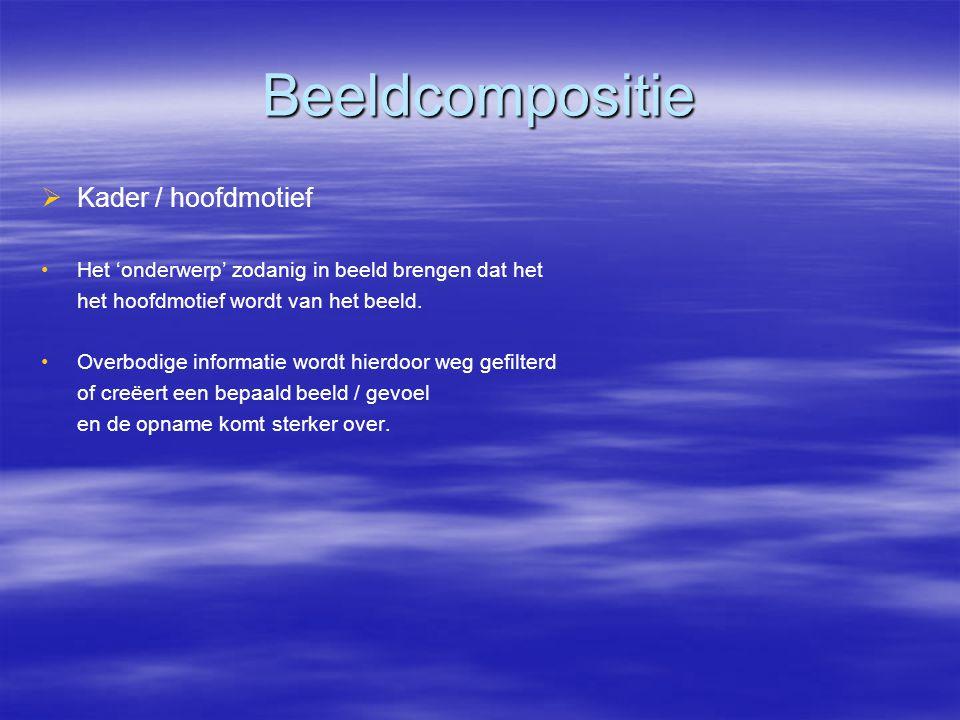 Beeldcompositie   Kader / hoofdmotief • •Het 'onderwerp' zodanig in beeld brengen dat het het hoofdmotief wordt van het beeld.
