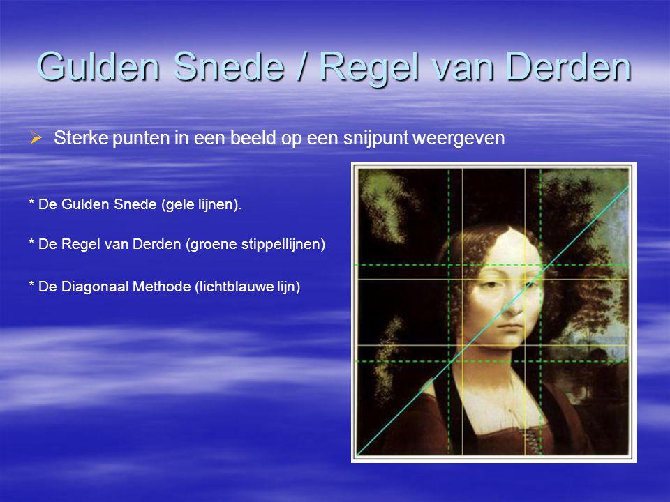 Gulden Snede / Regel van Derden   Sterke punten in een beeld op een snijpunt weergeven * De Gulden Snede (gele lijnen).