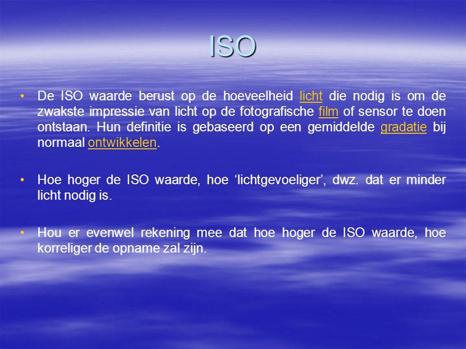 ISO • •De ISO waarde berust op de hoeveelheid licht die nodig is om de zwakste impressie van licht op de fotografische film of sensor te doen ontstaan.
