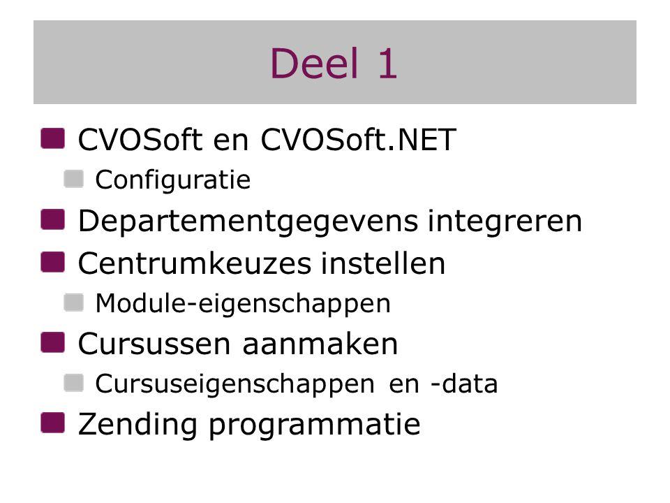 Deel 1 CVOSoft en CVOSoft.NET Configuratie Departementgegevens integreren Centrumkeuzes instellen Module-eigenschappen Cursussen aanmaken Cursuseigens