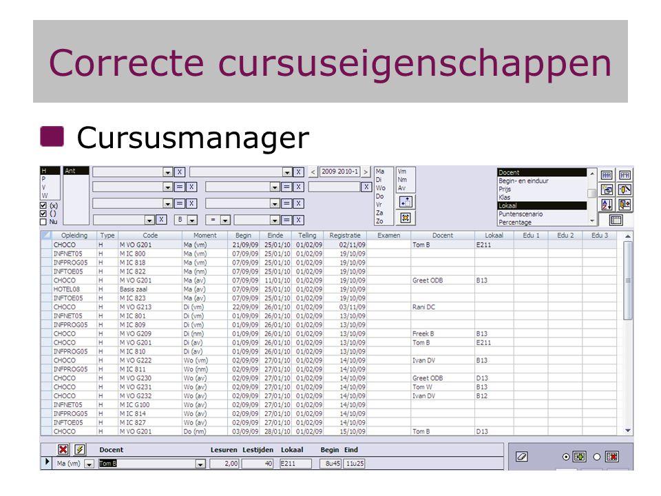 Correcte cursuseigenschappen Cursusmanager