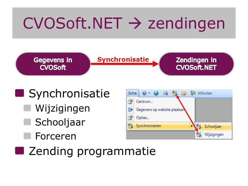 CVOSoft.NET  zendingen Synchronisatie Wijzigingen Schooljaar Forceren Zending programmatie Synchronisatie