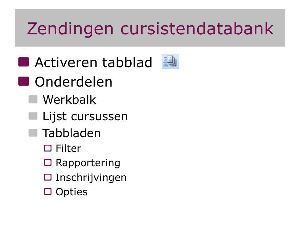 Zendingen cursistendatabank Activeren tabblad Onderdelen Werkbalk Lijst cursussen Tabbladen Filter Rapportering Inschrijvingen Opties