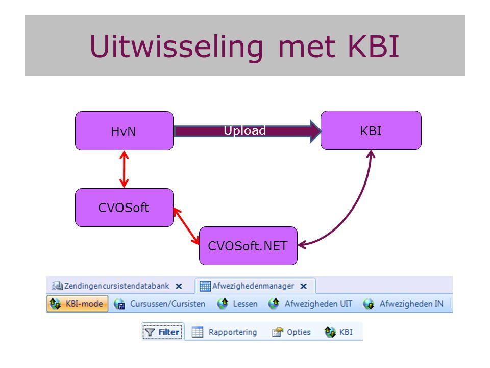 HvN KBI Upload Uitwisseling met KBI CVOSoft.NET CVOSoft