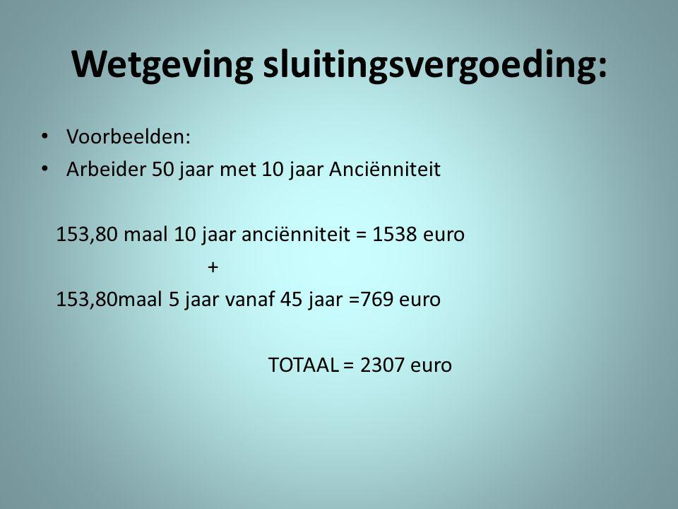 Wetgeving sluitingsvergoeding: • Voorbeelden: • Arbeider 50 jaar met 10 jaar Anciënniteit 153,80 maal 10 jaar anciënniteit = 1538 euro + 153,80maal 5 jaar vanaf 45 jaar =769 euro TOTAAL = 2307 euro