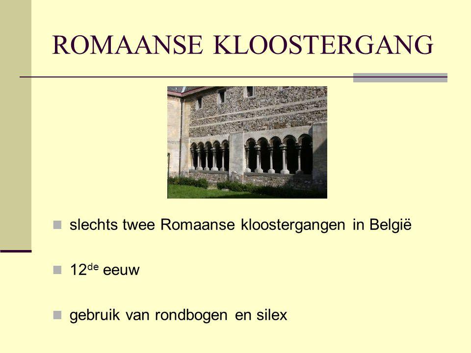 ROMAANSE KLOOSTERGANG  slechts twee Romaanse kloostergangen in België  12 de eeuw  gebruik van rondbogen en silex