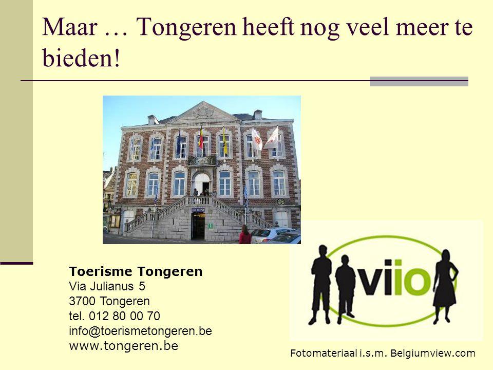 Maar … Tongeren heeft nog veel meer te bieden! Toerisme Tongeren Via Julianus 5 3700 Tongeren tel. 012 80 00 70 info@toerismetongeren.be www.tongeren.