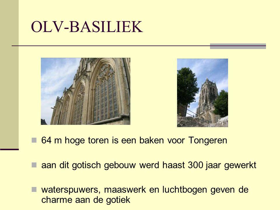 OLV-BASILIEK  64 m hoge toren is een baken voor Tongeren  aan dit gotisch gebouw werd haast 300 jaar gewerkt  waterspuwers, maaswerk en luchtbogen geven de charme aan de gotiek